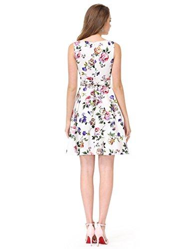 Alisa Pan レディース ラウンドネック 袖なし エレガント 花柄 パーティー 結婚式ドレス ワンピース5488