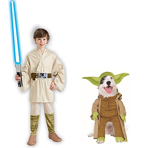 [Star Wars Luke Skywalker Child Large Yoda Pet Small Bundle Set] (Star Wars Dog Costumes Ewok)