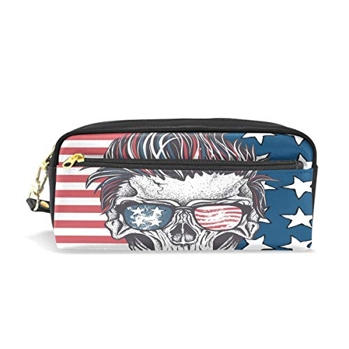 XLING Pencil Case Funny Halloween Skull UK Flag Leather Pen Pencil Case Box Pouch Zipper Makeup Cosmetic Bag Travel]()