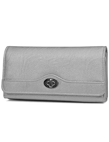 Mundi File Master Womens RFID Blocking Wallet Clutch Organizer With Change Pocket (One Size, (Pewter))