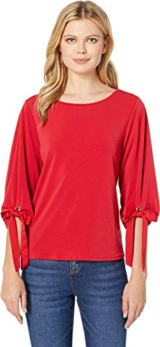 CeCe Women's 3/4 Puffed Sleeve Top w/Bows Ribbon Red X-Large