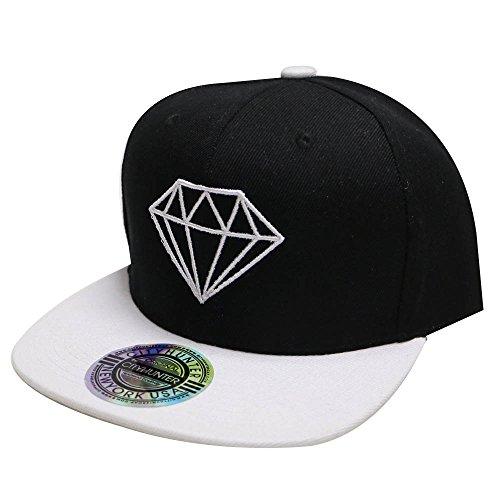 8eb17c9e1696b City Hunter Cf918t Diamond Snapback Cap - Black white