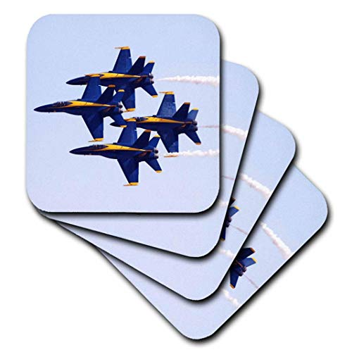 3dRose cst_60480_2 Blue Angels at Air Show-Soft Coasters, Set of 8