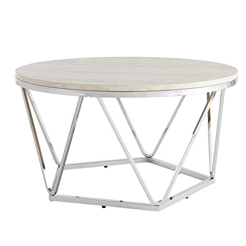 Southern Enterprises AMZ0895KC Luna Cocktail Table, Silver, Faux Travertine ()