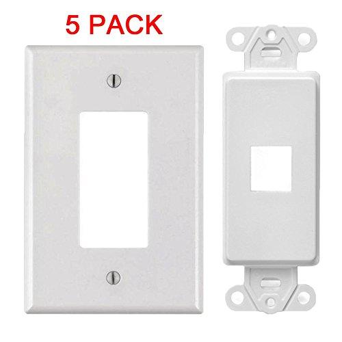 White 1 Port Decora Keystone Snap-in Jack Modular Wall Insert Cover Plate (5/pk)