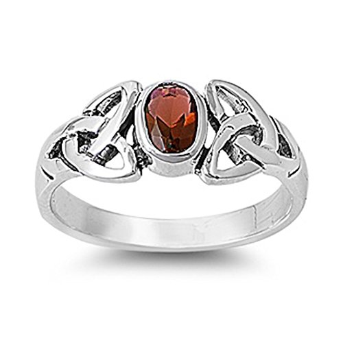 Celtic Ruby - Celtic Design Twisted Knot Wedding Engagement Ring Oval Cut Deep Red Simulated Garnet 925 Sterling Silver