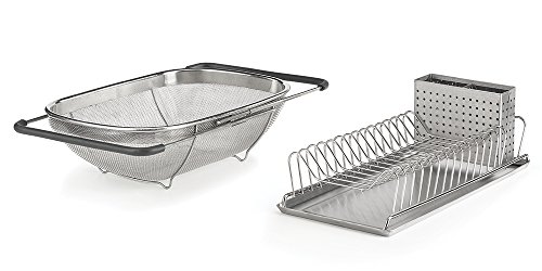 EverHome Compact Dish Rack & Sink Strainer Combo Pack, Rust-