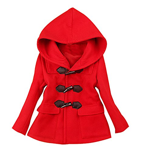BPrincess Girls Pink Or Red 3 Button 2 Pocket Cashmere Wool Blend Duffle Coat, Red 2T -