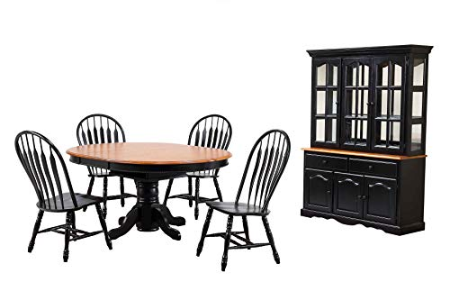 Sunset Trading DLU-TBX4866-4130-22BHAB7PC Black Cherry Selections Dining Table Set, Distressed Antique ()