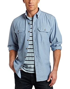 Men's Big & Tall Fort Long Sleeve Shirt Lightweight Chambray Button Front Relaxed Fit S202