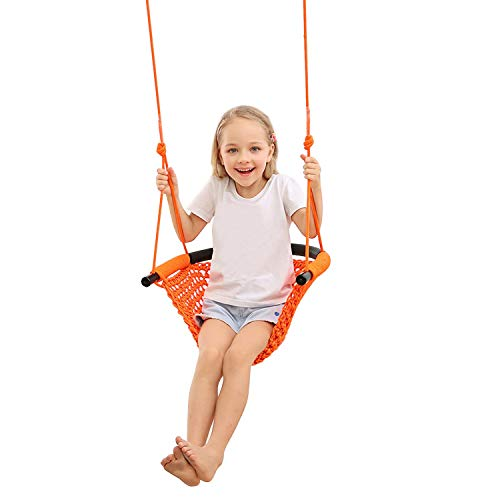 (Web Chair Swing, Rope Net Style Hammock Chair, Swing Seat for Kids with Adjustable Ropes Perfect for Kids & Adult Lounging Indoor/Outdoor Home, Patio, Deck, Yard,)