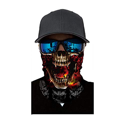 FEDULK Skull Face Mask Balaclava Neck Tube Ski Scarf Motorcycle Bike Riding Hunting Cycling Halloween Party(B) -