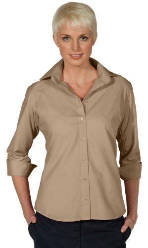 Ed Garments 5040 Women's Open Neck Poplin 3/4 Sleeve Blouse - Tan - Large