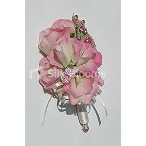 Stunning Light Pink Tipped Ivory Sweetpea Wedding Corsage 74