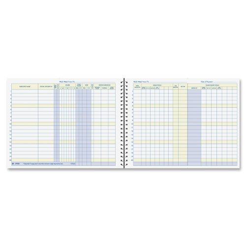 Adams Weekly Payroll Record, 20 Employee Capacity, Spiral Binding, 11 x 8.5 Inches, White, (AFR50)