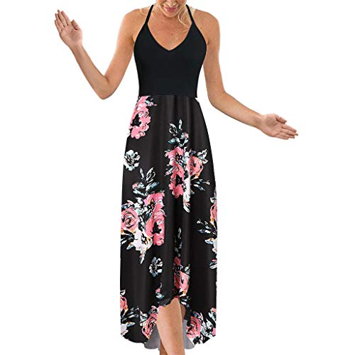 (WOCACHI Womens High Low Dresses, V Neck Spaghetti Strappy Sleeveless Floral Summer Maxi Dress Girlfriend Lover Gift Casual Fashion Newest Couples Summer Mid Calf Ankle Bodycon)