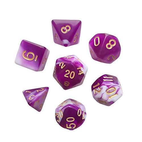 ANVEENA Polyhedral 7-DND Dice Set, Gem Purple Dice Sets for RPG MTG Table Games Dice, D4 D6 D8 D102 D12 D20 of Purple Dice ()
