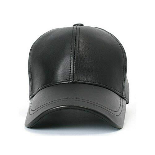 Private Label 100% Sheep Leather Mens Baseball Cap Unisex Golf Adhesive Strap Biker Hat Black