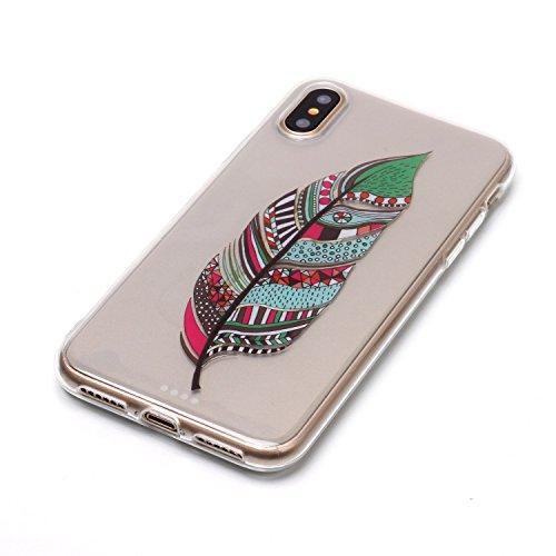 Hülle iPhone X , LH Grüne Federn TPU Weich Muschel Tasche Schutzhülle Silikon Handyhülle Schale Cover Case Gehäuse für Apple iPhone X