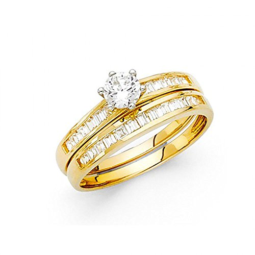 14k Yellow Gold Round Brilliant Cut CZ Channel Set Baguette Engagement Wedding Ring Set