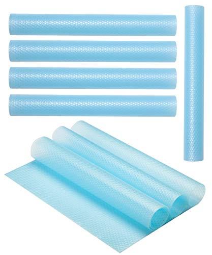 PABUSIOR Refrigerator Mats washable Transparent 8 Pack.(11.8 X 17.7)Inch Eva DIY Can Be Cut Non-Slip Shoe Rack Fridge Liner(Clear Blue) (Transparent Refrigerator)