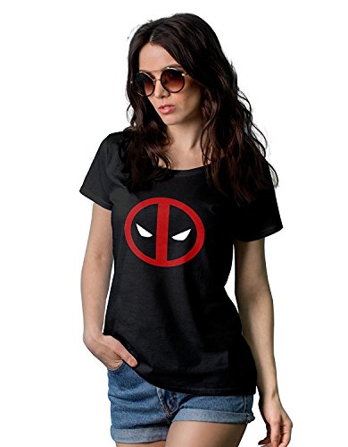 Womens Black Deadpool Shirt | Deadpool Logo, (Deadpool Halloween Funny)