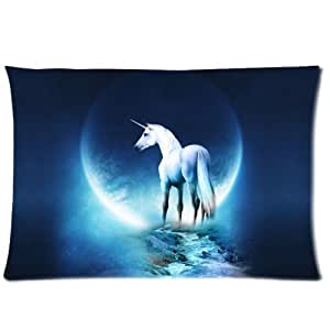 LarryToliver You deserve to have single-sided printing Satin fabric 20 X 30 inch pillowcase Moon Night Unicorn best pillow cases