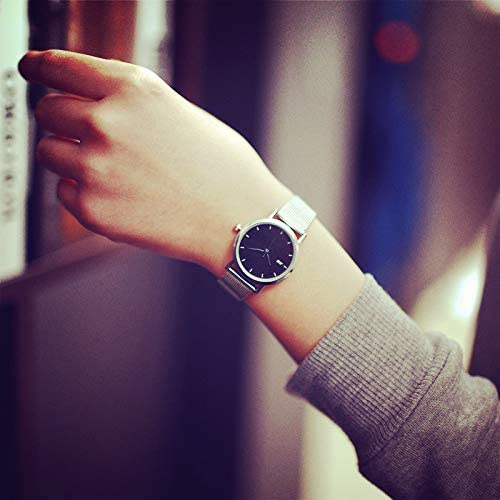 FDIJM Simple Montres en Argent Femmes Pointeur Bleu en Acier Inoxydable Maille Bracelet Mode Casual Bracelet De Sauvage Montre Relogio Feminino Small Black