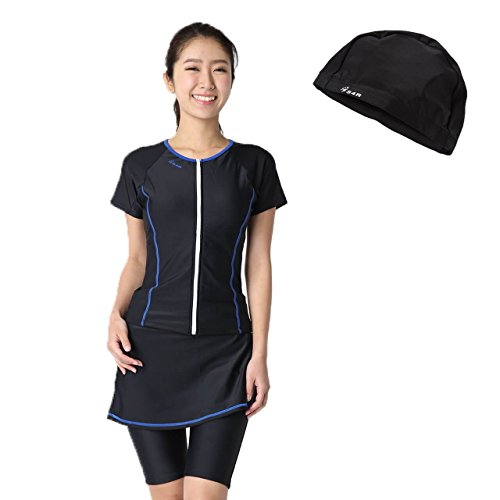 S4R Woman's two piece swimsuit separate skirt swim cap set Fitness swimming sportswear (Black/Blue, S)