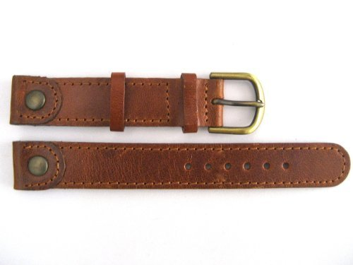 14MM BROWN STITCHED DISTRESSED WESTERN STYLE GENUINE LEATHER WATCH BAND STRAP