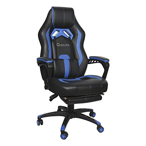 eclife Gaming Chair Office Computer Chair Game Video Chair High Back Ergonomic Backrest Seat Adjustable Swivel Task Chair E-Sports Chair with Lumbar Support and Footrest (OF-D01, Blue)