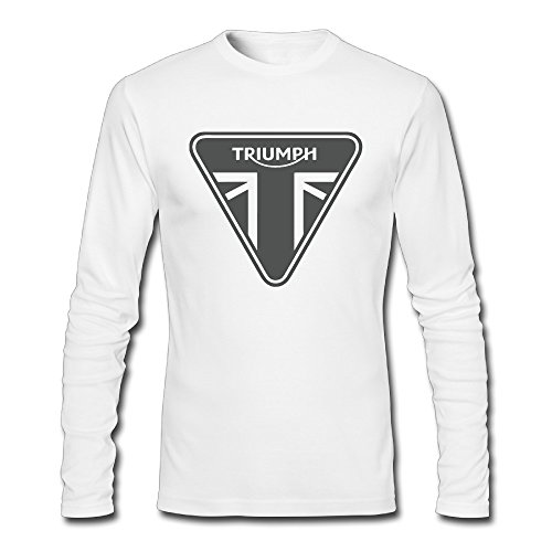 Dress Like The 70s (Men's Triumph Motorcycle Logo 100% Cotton Long Sleeve Tee Shirt White)