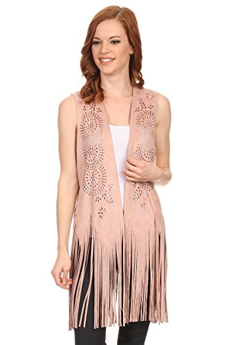 (LL Womens Boho Pink Faux Suede Cut Out Pattern Sleeveless Vest with Fringe)