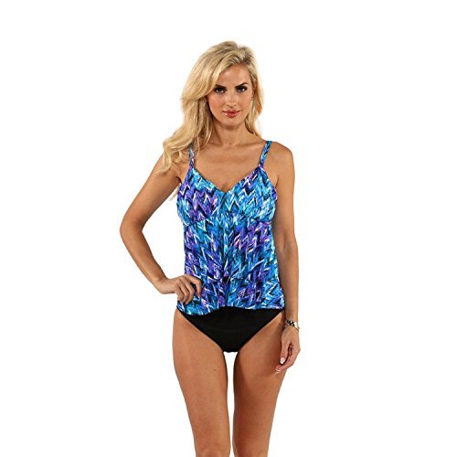 Miraclesuit Blue Printed Tiered Tankini Top with Bikini Bottom (14)
