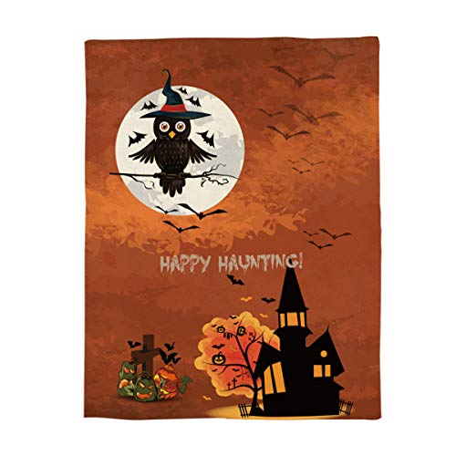Luxury Flannel Fleece Throw Blanket Super Soft Warm Fuzzy Plush Microfiber Lightweight Throw Couch Chair Bed Blankets for Fall Winter Spring - Twin 50x60 Inch Happy Halloween Castle and Magic Owl ()