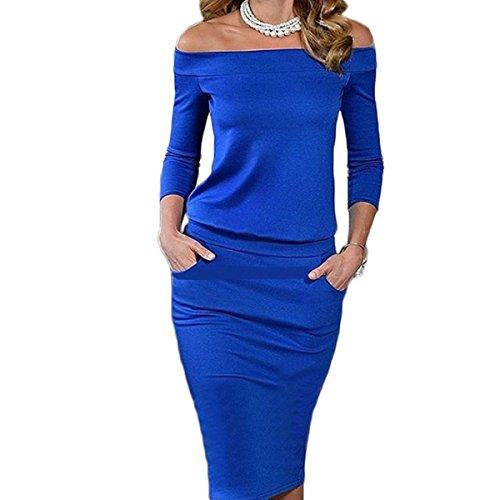 et Genou Cocktail Bateau Bleu 4 robe Femme Manche de Slim 3 au soire Vintage Col Fashion Crayon Robe Rtro wTw0qPO