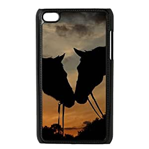 Ipod Touch 4 2D Custom Hard Back Durable Phone Case with Horse Image