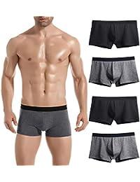 Mens Underwear Breathable Boxer Briefs 3-4 Pack Soft Cotton Shorts Underware Man No Ride-up
