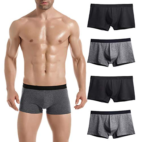 Donppa Mens Underwear Breathable Boxer Briefs Pack U Pouch Cotton Soft Shorts Pants No Fly for Boys(2 Black&2 Grey M) (Shorts Boxer Fitted)