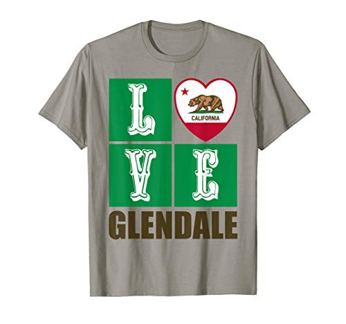 California Republic State Flag Heart Cali Love Glendale T-Shirt