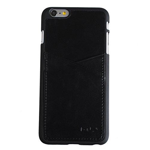 "[Black] [Cross Pocket] ip6+ Pattern Genuine Leather Card Slot [Back Pocket] Rigid Case Cover For Apple iphone 6 Plus 5.5""inches CRSIP6PBK"