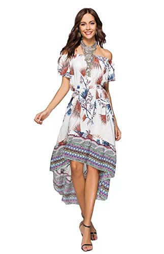 MCEDAR Women's Maxi Causal Bohemian Dress Floral Print Off Shoulder Long Dress for Summer Beach Party. (S, White)]()