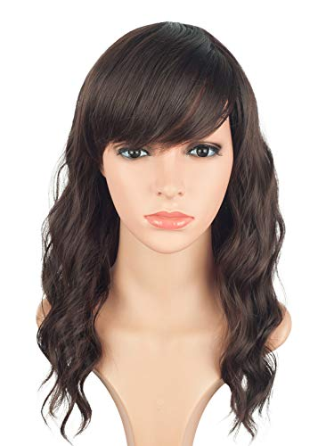 Shoulder Length Brown Wavy Wigs For Women Natural Looking Heat Resistant Synthetic Hair Wigs With Side Bangs For Daily Use 16 Inches (Light Brown) (Medium Length Layered Hair With Side Bangs)