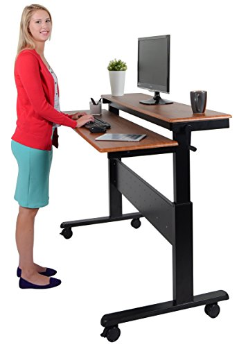 Crank Adjustable Sit to Stand Up Desk with Heavy Duty Steel Frame (60