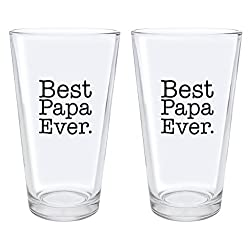 Christmas Gifts for Papa Best Papa Ever Fathers Day Gifts for Papa Gift Pint Glasses 2-Pack Pint Glass Set Clear
