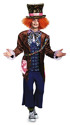 Disguise Men's Alice Mad Hatter Deluxe Costume, Multi, X-Large (Men Mad Hatter Costume)