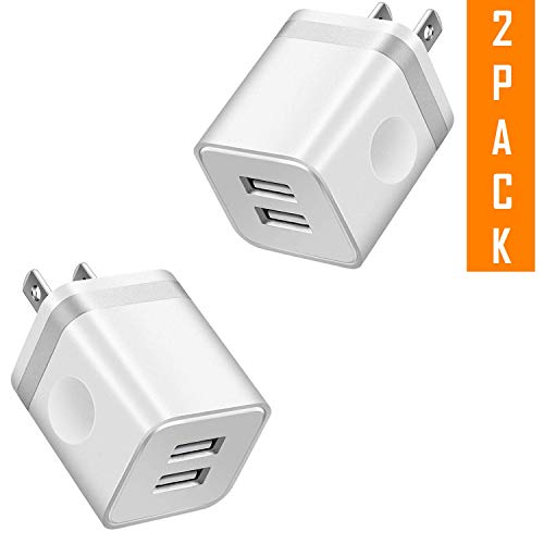 USB Charger, 2.1A/5V Dual 2-Port USB Plug Charger 10W Wall Plug Power Adapter Fast Charging Cube Compatible with Apple iPhone, iPad, Samsung Galaxy, Note, HTC, LG & More (2-Pack) - Block Duel Charging