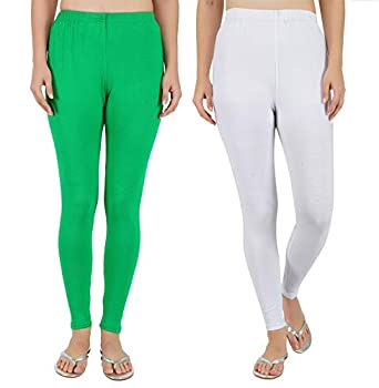 Girly Girls Pack Of 2 100% Cotton Stretchable Women's Ankle length Skinny Fit Regular/Casual Wear Legging - Set Of 2,[ Green+White ]