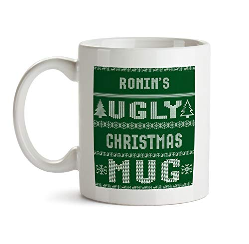 Ronin Ugly Green Christmas Mug Gift - AA129 Funny Gag Xmas Coffee Tea Cup For Men Custom Personalized Name Ceramic For Him Male Friend Office Coworker