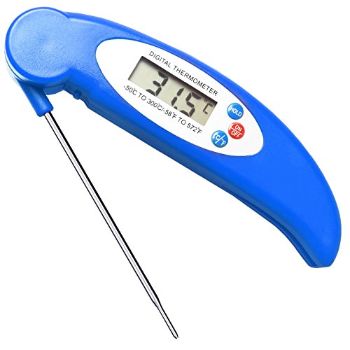 GET Waterproof Meat Thermometer Digital Super Fast Instant Read Thermometer BBQ Thermometer with Calibration and Backlit Function Cooking Thermometer for Food, Candy, Milk, Tea, BBQ Grill Smokers-blue